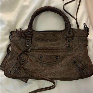 Balenciaga Small Classic City bag shiny brown